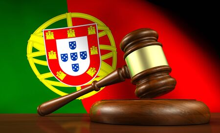 law of portugal: Law and justice of Portugal concept with a 3d render of a gavel on a wooden desktop and the Portuguese flag on background.