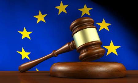 Europese recht van de Unie, de wetgeving en het parlement concept met een 3d render van een hamer op een houten bureaublad en de EU-vlag op de achtergrond.