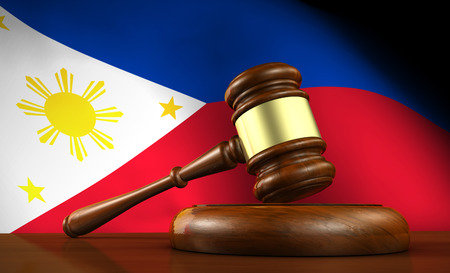 constitutional law: Law and justice of Philippines concept with a 3d render of a gavel on a wooden desktop and the philippine flag on background. Stock Photo