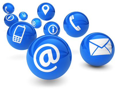 Email, web and Internet concept with contact and connection icons and symbols on bouncing blue spheres isolated on white background. Archivio Fotografico