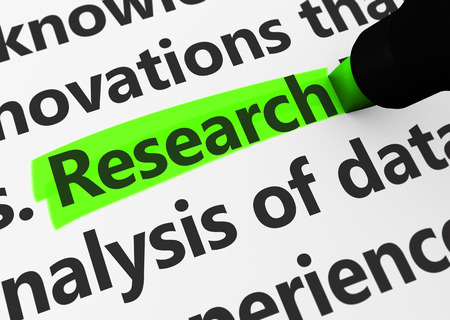 research study: Research concept with a 3d render of related words and research text highlighted with a green marker. Stock Photo