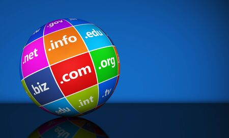 edu: Website and Internet domain names web concept with domains sign and text on a colorful globe with copy space on blue background. Stock Photo