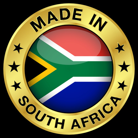 Made in South Africa gold badge and icon with central glossy South African flag symbol and stars. Vector EPS 10 illustration isolated on black background. Vettoriali