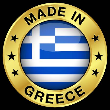 made in greece: Made in Greece gold badge and icon with central glossy Greek flag symbol and stars. Vector EPS 10 illustration isolated on black background.