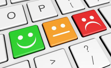 Business Service-Qualität an Kunden-Feedback, Rating und Umfrage-Tasten mit lächelnden Gesicht-Symbol und Symbol auf Computer-Tastatur.