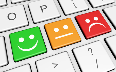klawiatury: Jakość obsługi klienta firm zwrotna, ocena i przeglądów na klucze z uśmiechem symbol twarz i ikonę na klawiaturze komputera.