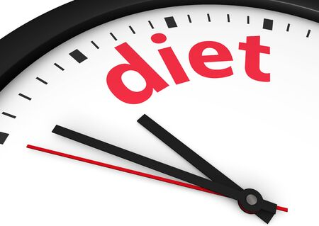 lose weight: Time for weight lose healthy lifestyle conceptual image with a wall clock and diet text printed in red.