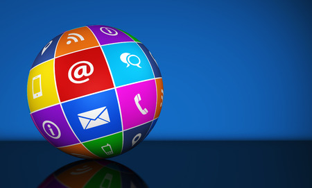 contact us icon: Website and Internet contact us web icons and symbol on a colorful globe for blog and online business illustration with copy space on blue background. Stock Photo