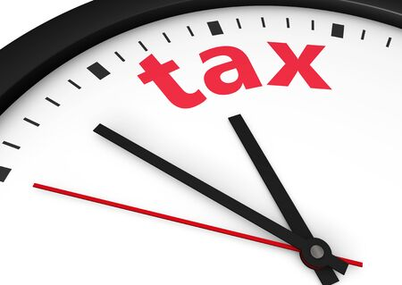 financial advice: Taxation time conceptual image with a wall clock and tax word printed in red.