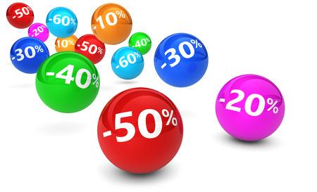 Het winkelen verkoop, vermindering, korting en promo concept met kleurrijke stuiteren bollen en het percentage teken op een witte achtergrond.