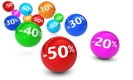Shopping sale, reduction, discount and promo concept with colorful bouncing spheres and percentage sign on white background. Stock Photo