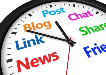 gerente: Medios de comunicaci�n social la gesti�n del tiempo y estrategia web concepto con una palabra reloj y red social y firmar impresos en m�ltiples colores 3d imagen.