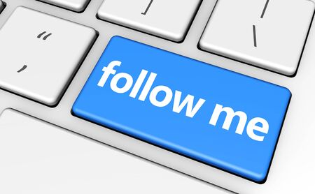follow me: Follow me concept with sign and word on a computer key for blog, website and online business.