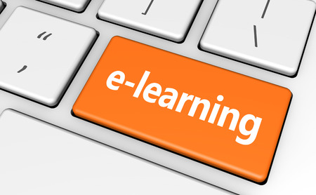 edu: E-learning online education concept with sign and word on a orange computer key for blog, website and online business.