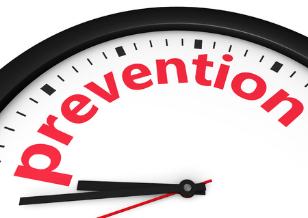 preventive medicine: Time for prevention, health and safety lifestyle concept with a clock and prevention word and sign printed in red 3d render image. Stock Photo