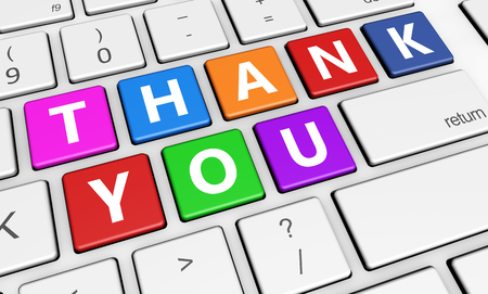 Thank you sign and letters on laptop computer keyboard marketing and customers thanks giving concept 3d illustration. Stock Photo