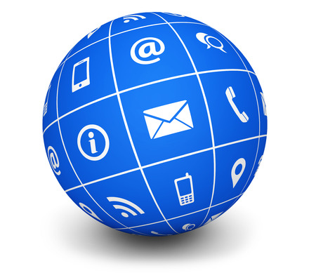 internet symbol: Website and Internet contact us web icons and symbol on a blue globe for blog and online business illustration on white background.