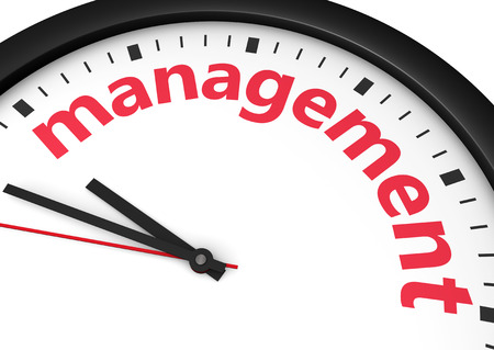 management concept: Business time management concept 3d illustration with a face clock and management sign printed in red.