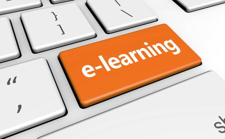 learning concept: E-learning online education concept with sign and word on a computer key for blog, website and online business.
