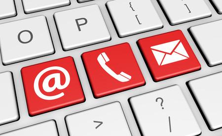 llaves: Contactos Sitio web símbolo y el icono en un ordenador portátil teclado del ordenador ilustración conceptual 3d para el blog y los negocios en línea.