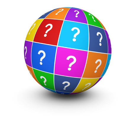 internet mark: Question mark symbol and icon on a colorful globe conceptual 3d illustration for web and online business on white background.