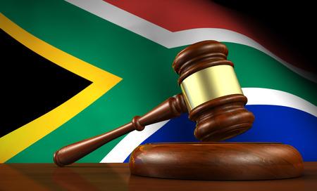Zuid-Afrika wet en recht concept met een 3d render van een hamer op een houten bureaublad en de Zuid-Afrikaanse vlag op de achtergrond.
