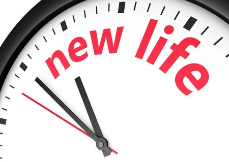 new beginning: Beginning of a new lifestyle concept with a clock and new life word and sign printed in red 3d render image.