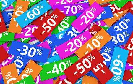 percentage sign: Shopping sale, reduction, discount and promo concept with percentage sign on colorful paper coupon.