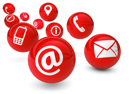 email contact: Email, web and Internet concept with contact and connection icons and symbols on bouncing red spheres isolated on white background.