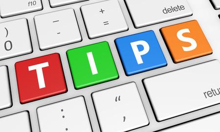 Consejos y trucos concepto con consejos de signos y letras en un teclado del ordenador portátil 3d ilustración colorida para el blog y los negocios en línea.