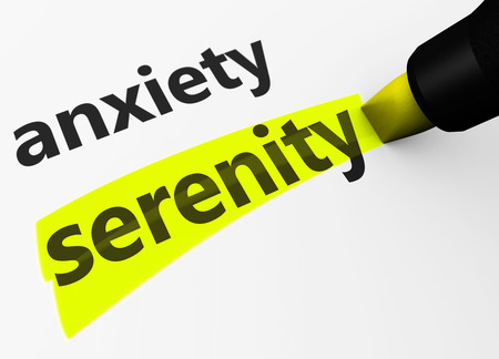insecure: Medical and healthcare concept with a 3d render of anxiety text versus serenity word highlighted with a yellow marker. Stock Photo