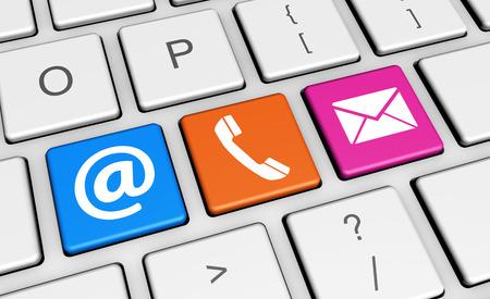 teclado de computadora: Contactos Sitio web s�mbolo e icono de colorido equipo clave 3d ilustraci�n conceptual para el blog y los negocios en l�nea.