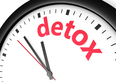 detox: Time for detox diet healthy lifestyle and body care conceptual image with a wall clock and detox text sign printed in red. Stock Photo