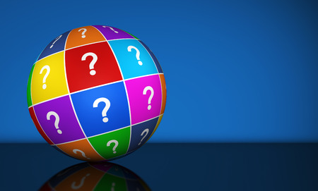 questions: Question mark symbol and icon on a colorful globe conceptual 3d illustration for web and online business on blue background.