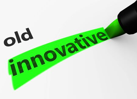 innovative: Innovation in business concept with a 3d render of old text and innovative word highlighted with a green marker.