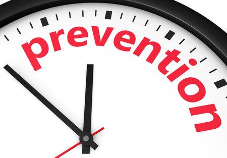 ヘルスケア: 時計と予防の単語と記号と予防・健康・安全のライフ スタイルのコンセプトのための時間は、赤い 3 d レンダリング イメージで印刷されます。