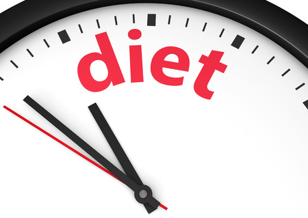 Dieting time healthy lifestyle conceptual image with a wall clock and diet text printed in red.