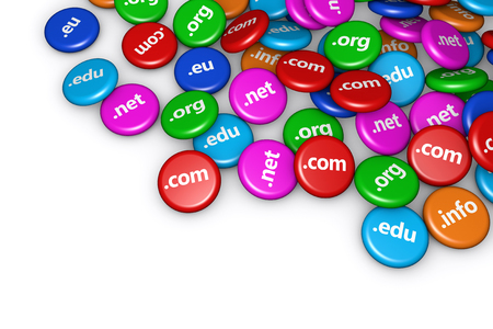 name: Web and Internet domain names concept background with a moltitude of website domains signs and text on scattered colorful badges.