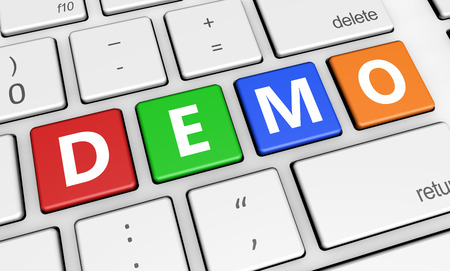 demos: Website business, Internet and web concept with demo word and sign on colorful computer keyboard. Stock Photo