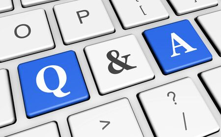 answer: Question and answer keyboard concept with q & a sign and letters on blue computer keys for blog, website and online business. Stock Photo