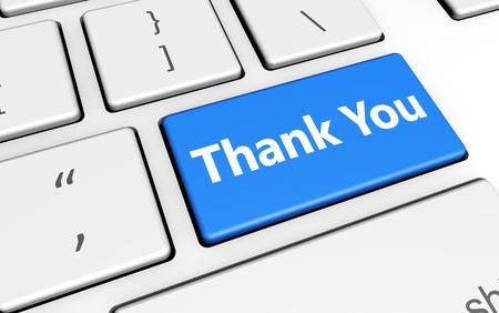 Dank u ondertekenen en letters op toetsenbord van de computer marketing en klanten dankzij het geven concept 3D-afbeelding.