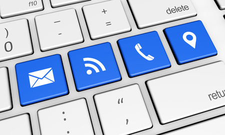 contacting: Website contact us and connection symbol and icon on blue computer keys conceptual 3d illustration for blog and online business. Stock Photo