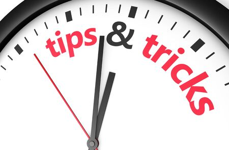 useful: Time for tips and tricks concept with red word and sign printed on a clock face.