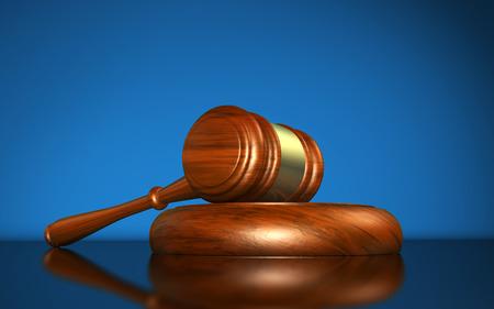 Droit, la justice et le concept de système juridique avec un symbole de juge de maillet en bois sur fond bleu.