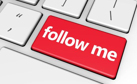 follow me: Follow me concept with sign and word on a red computer key for blog, website and online business. Stock Photo