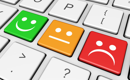 online survey: Business quality service customer feedback, rating and survey keys with smiling face symbol and icon on computer keyboard.