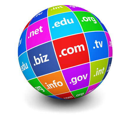 names: Website and Internet domain names web concept with domains sign and text on a colorful globe.
