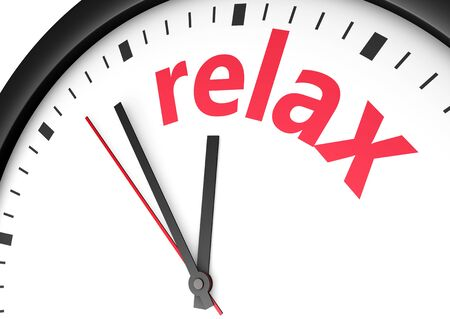 relaxar: Time for relax concept with red word and sign printed on a clock face.