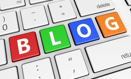 computer keys: Blogging web and Internet banner concept with blog sign on colorful computer keys.