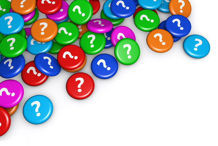 questions: Question mark symbol and icon on scattered colorful badges conceptual 3d illustration for web and online business.